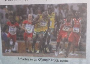 Athletes in an Olympic track event.